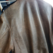COOPER Brown Leather Bomber Jacket M - PopRock Vintage. The cool quotes t-shirt store.