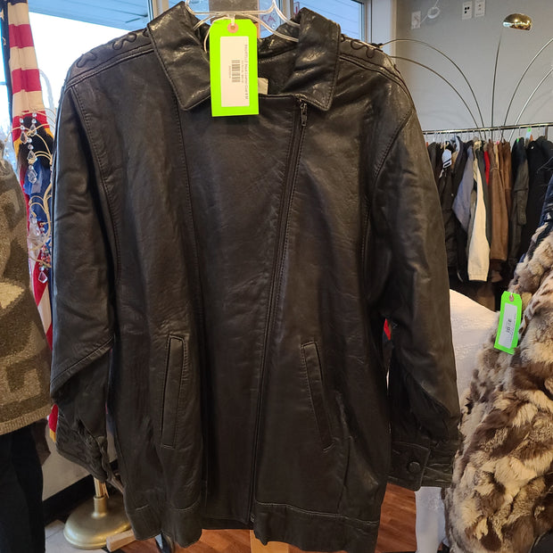 BAGATELLE Black Leather Coat 8 M