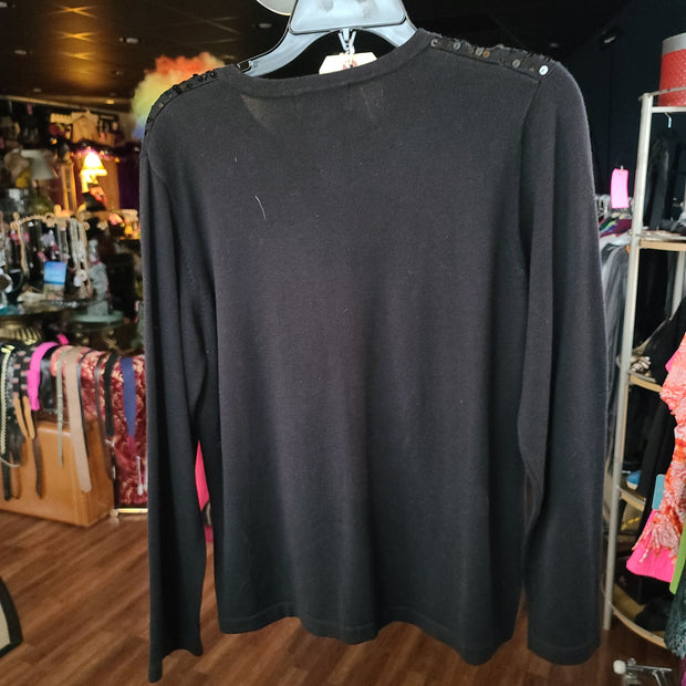 JENNIFER MOORE Black Sparkly Cardigan M - PopRock Vintage. The cool quotes t-shirt store.