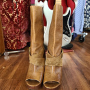 PRICE DROP! LUCKY BRAND Peep-toe Whiskey Leather Boots - PopRock Vintage. The cool quotes t-shirt store.