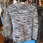 CALVIN KLEIN Black/White Heathered Sweater M - PopRock Vintage. The cool quotes t-shirt store.
