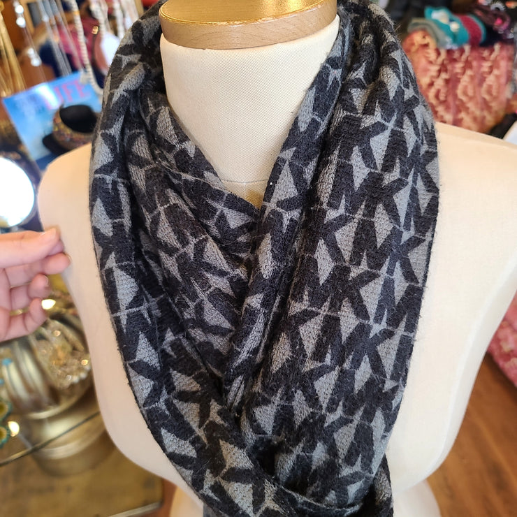 MICHAEL KORS Monogram Scarf Gray/Black - PopRock Vintage. The cool quotes t-shirt store.