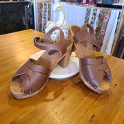 SANITA (orig. $85) Brown Wood & Leather Heels 9 9.5 - PopRock Vintage. The cool quotes t-shirt store.