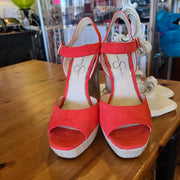 JESSICA SIMPSON (Orig. $65) Red Woven Summer Heels 9.5 - PopRock Vintage. The cool quotes t-shirt store.