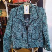 HANNA & GRACIE quilt blue blazer 12 - PopRock Vintage. The cool quotes t-shirt store.