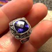 STERLING SILVER Amethyst Art Deco Ring 6 - PopRock Vintage. The cool quotes t-shirt store.