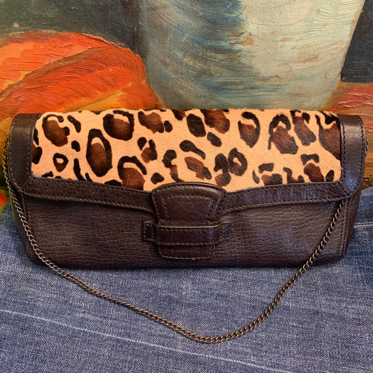 PRICE DROP Banana Republic (orig.$118) Leopard Leather Clutch - PopRock Vintage. The cool quotes t-shirt store.