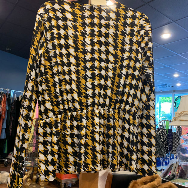 Anne Klein Gold & Black Long Sleeve Top M