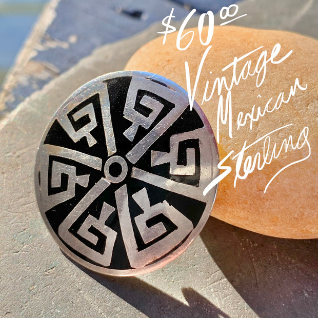 Mexico Sterling Silver Aztec Pendant Pin - PopRock Vintage. The cool quotes t-shirt store.