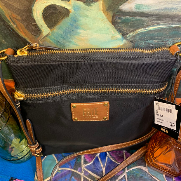 FRYE NWT Black Nylon Leather Bag - PopRock Vintage. The cool quotes t-shirt store.