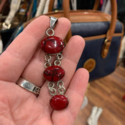 PRICE DROP Sterling Silver Red Howlite Pendant - PopRock Vintage. The cool quotes t-shirt store.