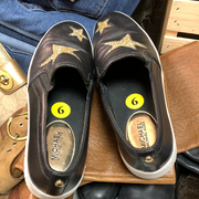 PRICE DROP! MICHAEL KORS Black Leather Gold Stars Slip-ons 0 - PopRock Vintage. The cool quotes t-shirt store.