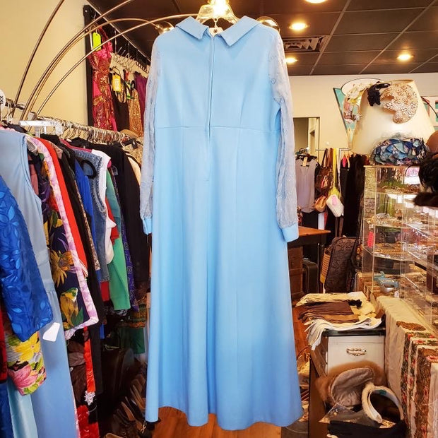 Vintage 1970s blue long sleeve dress L XL - PopRock Vintage. The cool quotes t-shirt store.