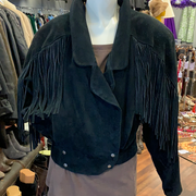 PRICE DROP! VINTAGE 1980s Black Suede Fringe Jacket S - PopRock Vintage. The cool quotes t-shirt store.