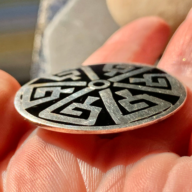 PRICE DROP Mexico Sterling Silver Aztec Pendant Pin - PopRock Vintage. The cool quotes t-shirt store.