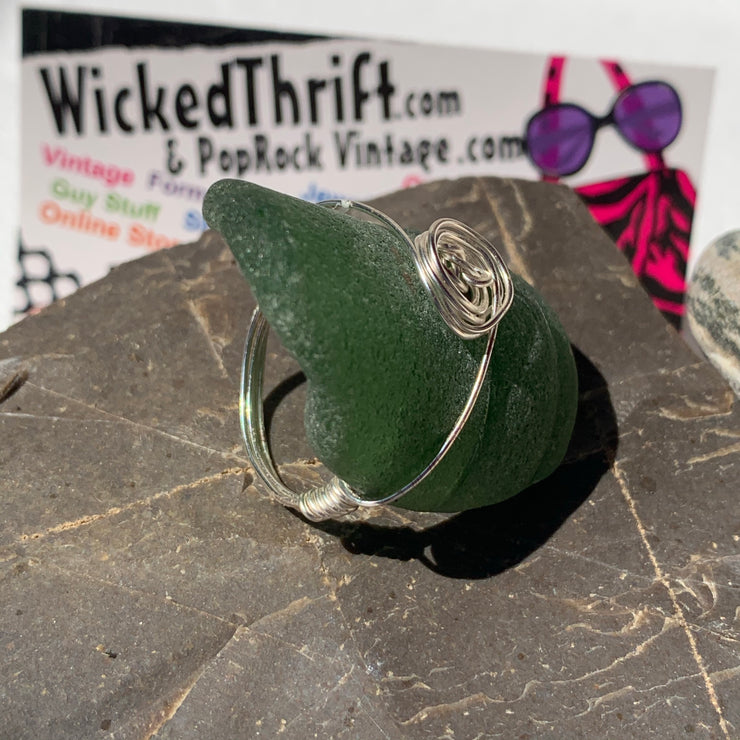 Sterling Silver Wire-wrapped Sea-glass Ring 8 - PopRock Vintage. The cool quotes t-shirt store.