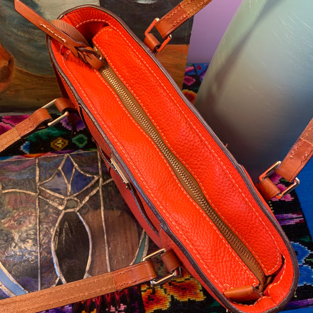 DOONEY & BOURKE Red-Orange Pebbled Leather Bag - PopRock Vintage. The cool quotes t-shirt store.
