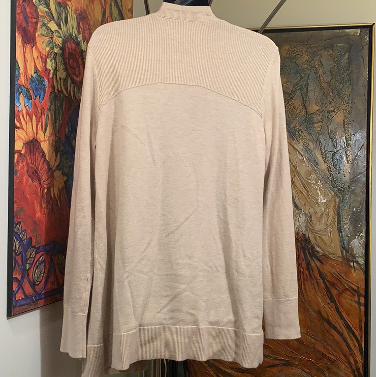 LOFT Tan Long Cardigan Sweater M - PopRock Vintage. The cool quotes t-shirt store.