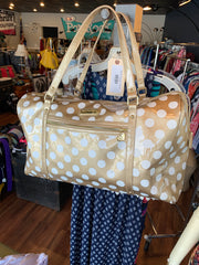 Betsy Johnson Gold Polka Dots Travel Weekend Bag - PopRock Vintage. The cool quotes t-shirt store.