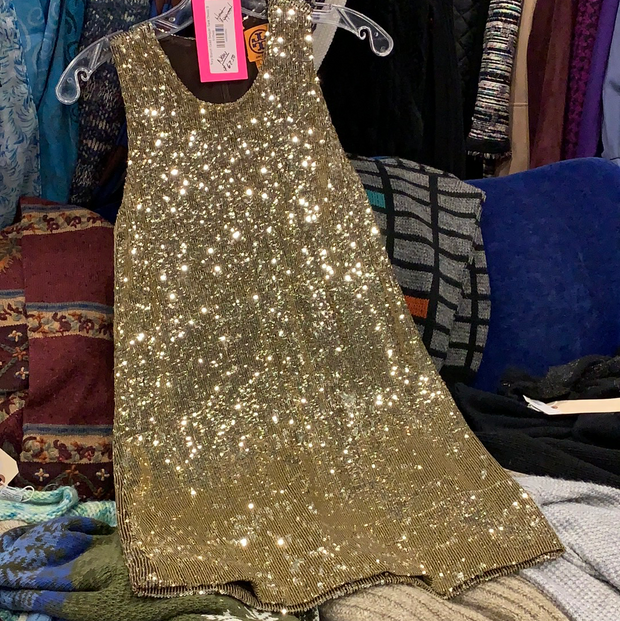 PRICE DROP Tory Burch Gold Sequin Tank Dress S - PopRock Vintage. The cool quotes t-shirt store.