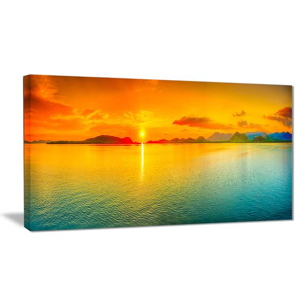 Beaming Sunset Over Sea Panorama Canvas Wall Art Print – Accent Canvas