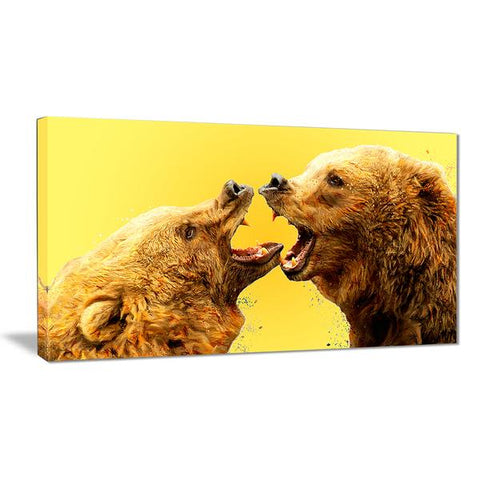 Golden Bear Brawl Canvas Wall Art Print