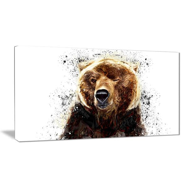 Bear Wink Canvas Wall Art Print