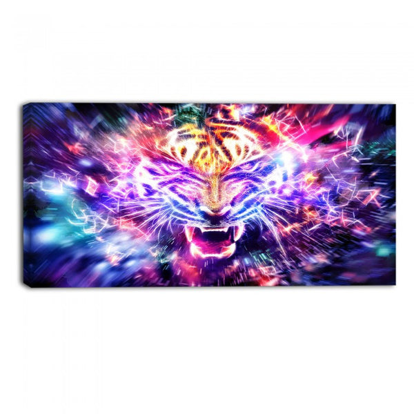 Electrified Lion Animal Canvas Wall Art Print
