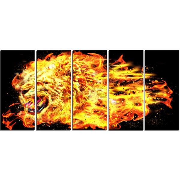 Flaming Lion Canvas Wall Art Print