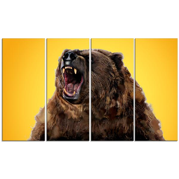 Gold Angry Grizzly Canvas Wall Art Print