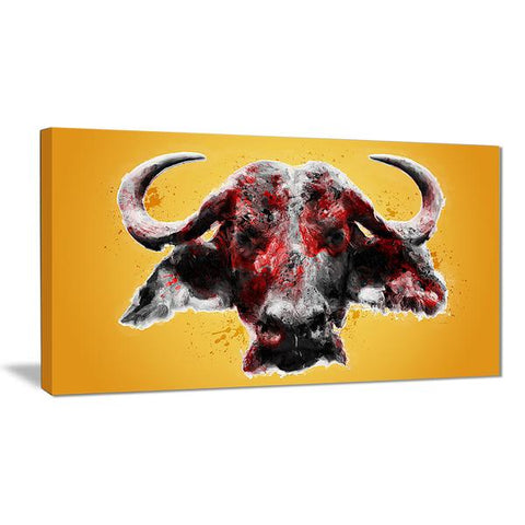 Gold Furious Bull Canvas Wall Art Print