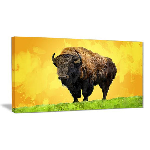 Gold Lonely Bison Canvas Wall Art Print