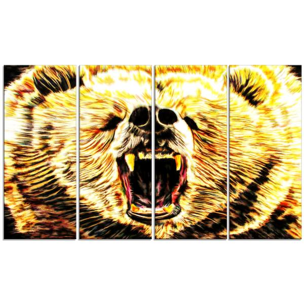 Growling Bear Canvas Wall Art Print