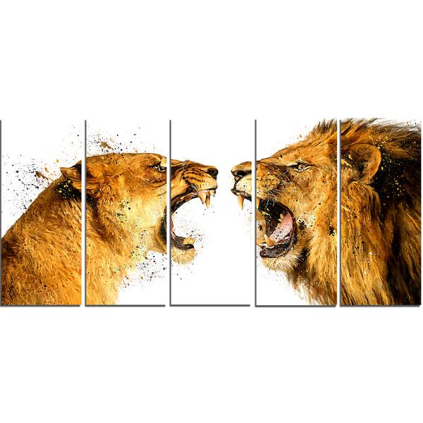 Lion Brawl Canvas Wall Art Print