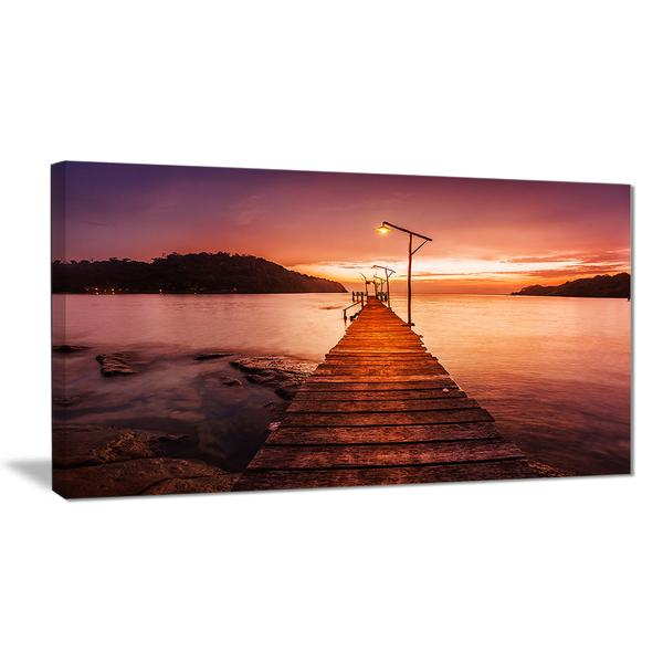 Nightfall Over Purple Sea Canvas Wall Art Print