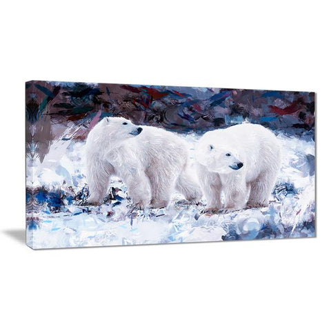 Polar Bear Buds Canvas Wall Art Print