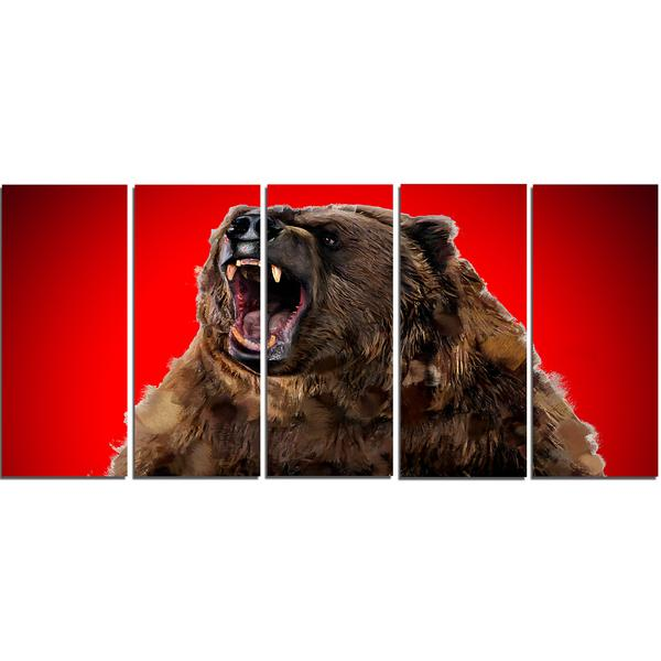 Red Angry Grizzly Canvas Wall Art Print