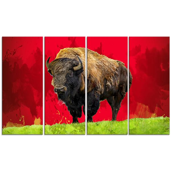 Red Lonely Bison Canvas Wall Art Print