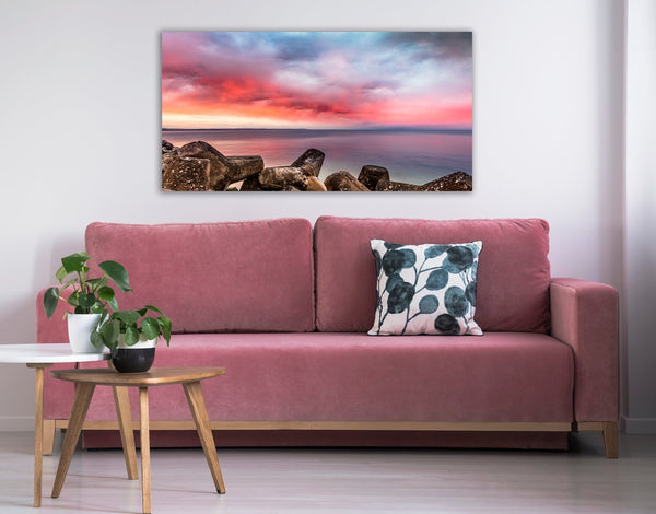 Red Sunset Over the Sea Canvas Wall Art Print