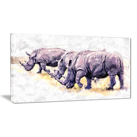 Roaming Rhinos Canvas Wall Art Print