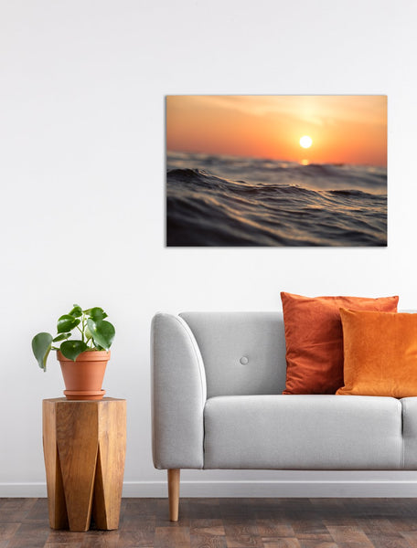Sunrise Ocean Waves Canvas Wall Art Print
