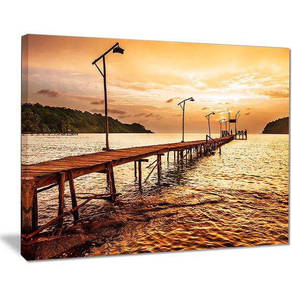 Sunset Over Bridge Landscape Canvas Wall Art Print