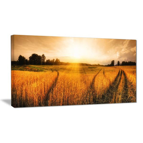 Sunset Wheat Field Canvas Wall Art Print