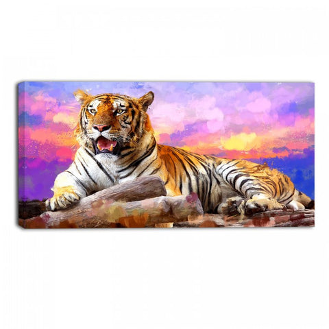 Tiger Delight Animal Canvas Wall Art Print