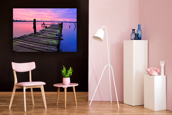 Waiting on the Pier Canvas Wall Art Print