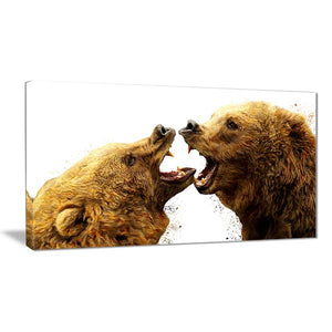 Bear Brawl Canvas Wall Art Print