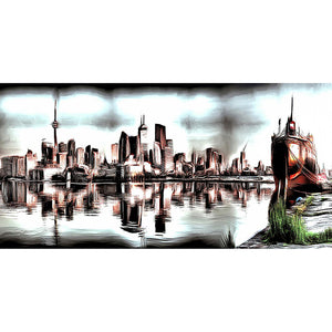 Abstract View of Toronto Cityscape Canvas Wall Art Print