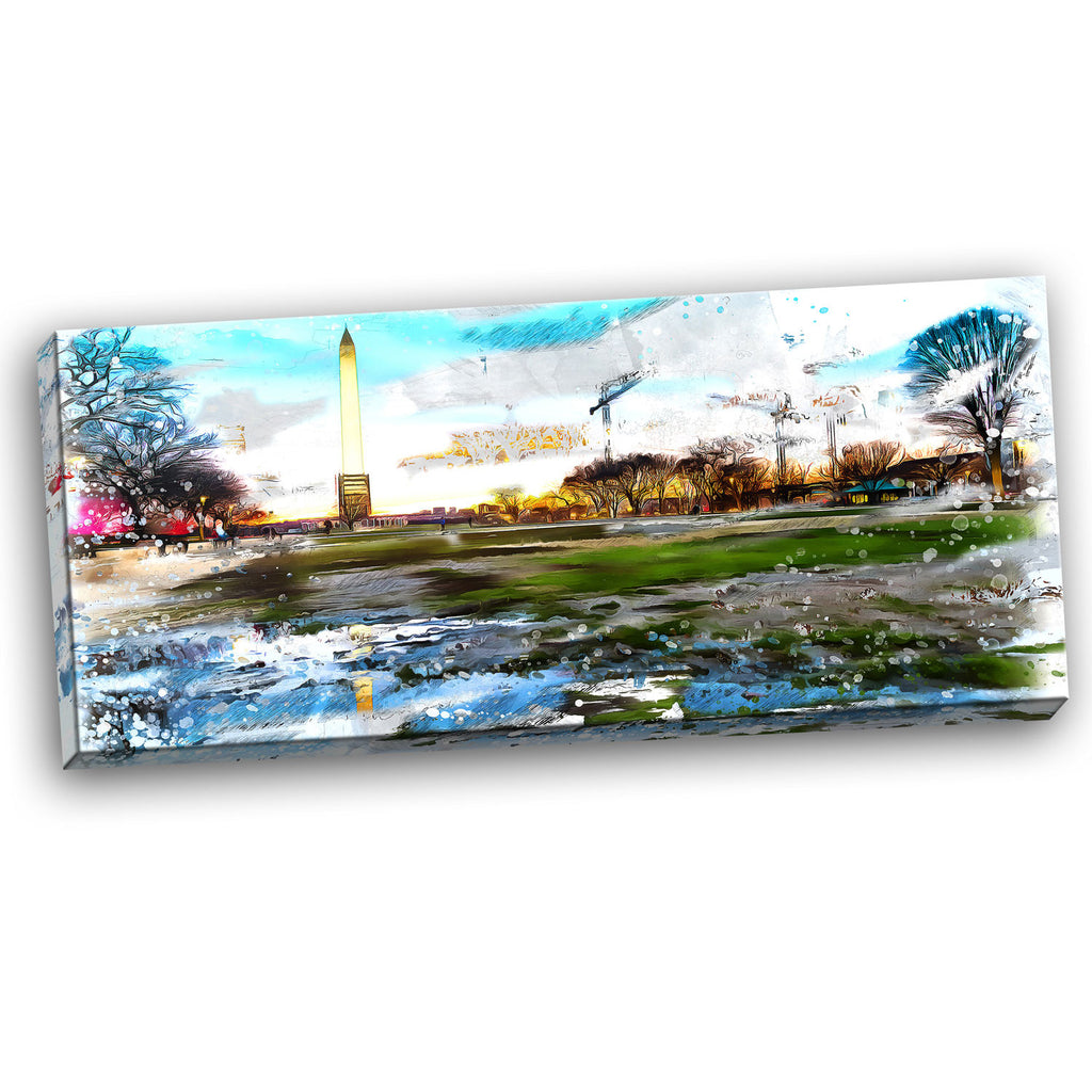 Abstract View of Washington Monument - Canvas Wall Art Print