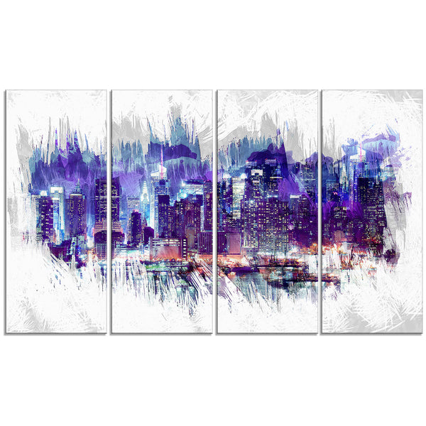 After Dark Cityscape Canvas Wall Art Print