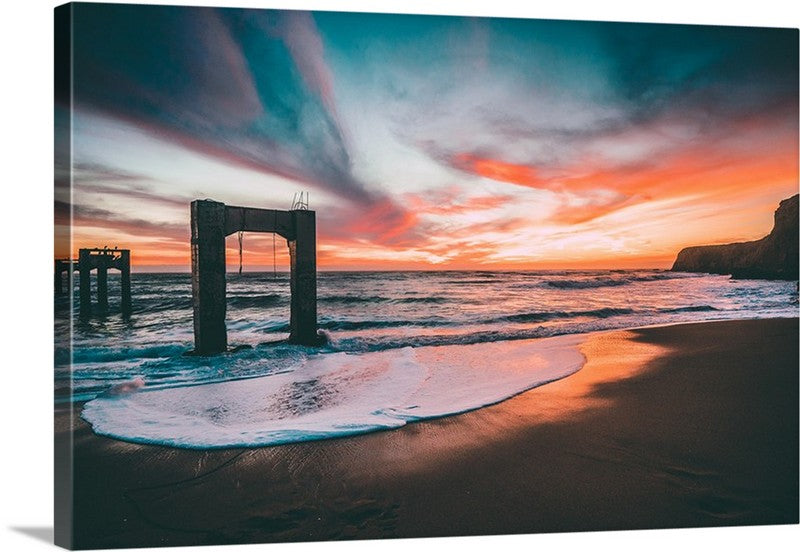 Alluring Sunset Beach Canvas Wall Art Print